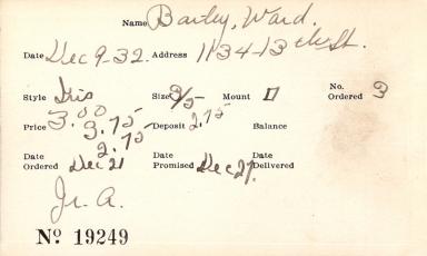 Index card for Ward Bailey