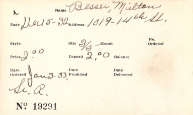 Index card for Milton Besser