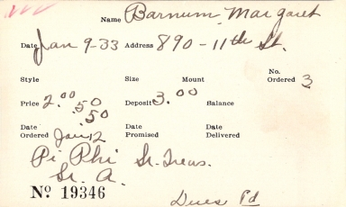 Index card for Margaret Barnum