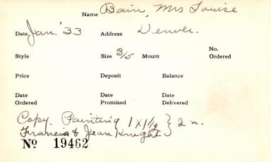 Index card for Louise Bain
