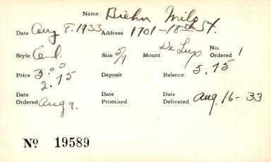 Index card for Milo Biehn