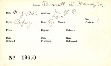 Index card for Antoinette Bigelow