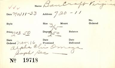 Index card for Virginia Bancroft