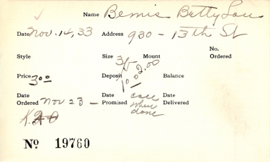 Index card for Betty Lou Bemis