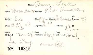 Index card for Lester Barry