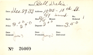 Index card for Delia Bell
