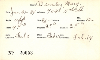 Index card for Mary Beasley