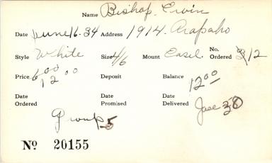 Index card for Ervin Bishop
