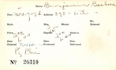 Index card for Barbara Benjamin