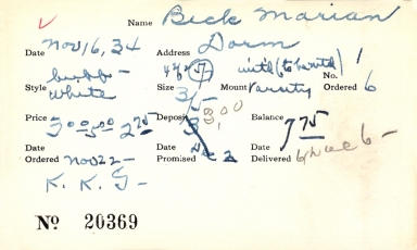 Index card for Marian Beck