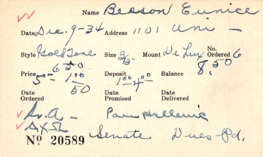 Index card for Eunice Beeson