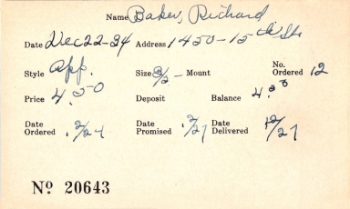 Index card for Richard Baker