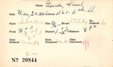Index card for Saul Beck