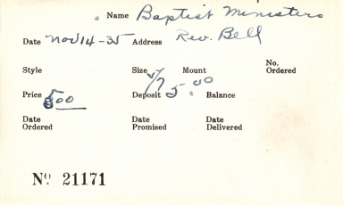 Index card for Baptist ministers