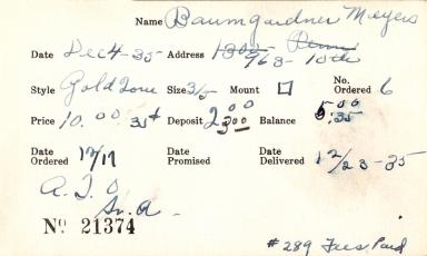 Index card for Meyer[?] Baumgardner