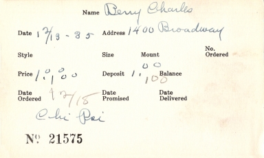 Index card for Charles Berry