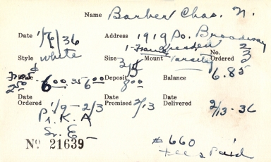 Index card for Charles N. Barber