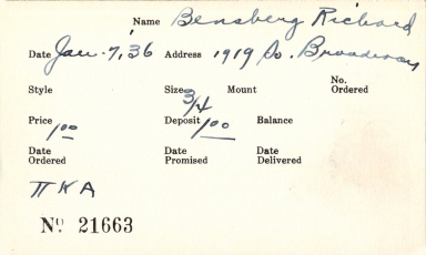 Index card for Richard Bensberg