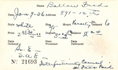 Index card for Fred Ballou