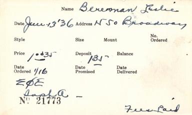 Index card for Leslie Bereman