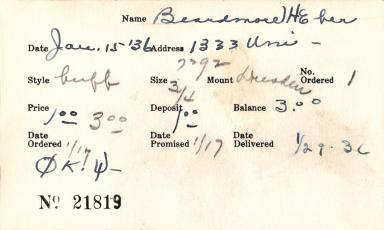 Index card for H. Eber Beardmore