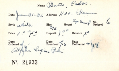 Index card for Carlos Bates