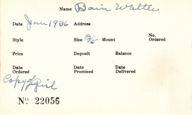 Index card for Walter Bain