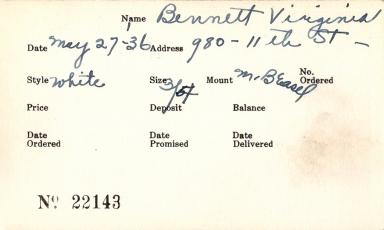 Index card for Virginia Bennett