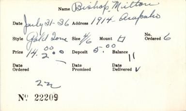 Index card for Milton Bishop