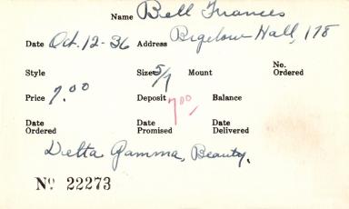Index card for Frances Bell