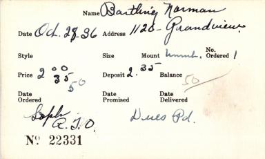 Index card for Norman Bartling