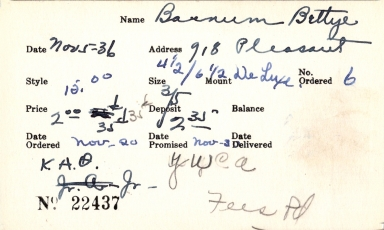 Index card for Bettye Barnum