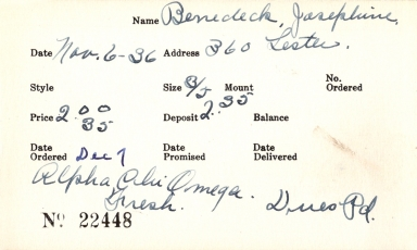 Index card for Josephine Benedeck