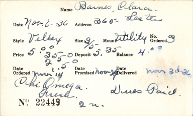 Index card for Clara Barnes