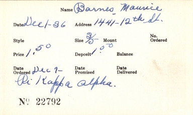 Index card for Maurice Barnes
