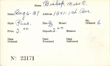 Index card for Miss C. Bishop