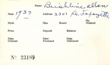 Index card for Allen Beishline
