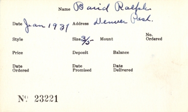 Index card for Ralph Baird