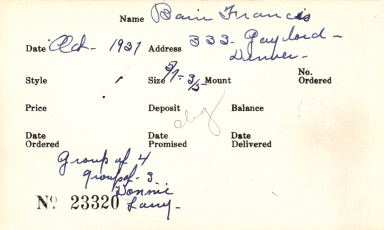 Index card for Francis Bain