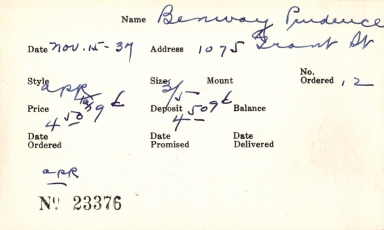 Index card for Prudence Benway