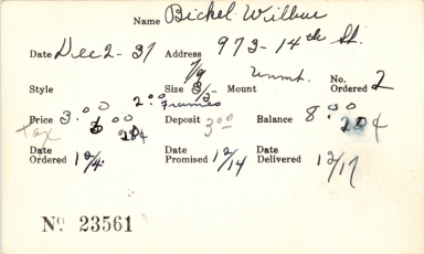 Index card for Wilbur Bickel