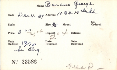 Index card for George Barcus
