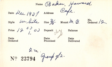 Index card for Howard Baker