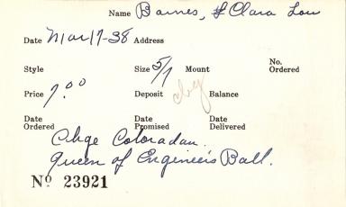 Index card for Clara Lou Barnes