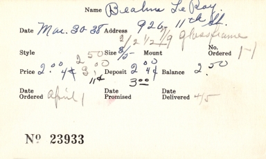 Index card for Le Roy Bea[illegible]