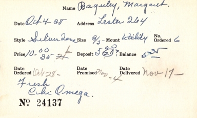 Index card for Margaret Baguley
