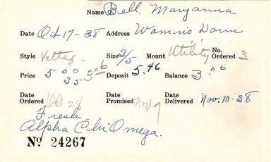 Index card for Maryanna Bell