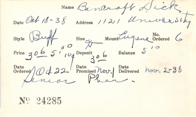 Index card for Dick Bancroft