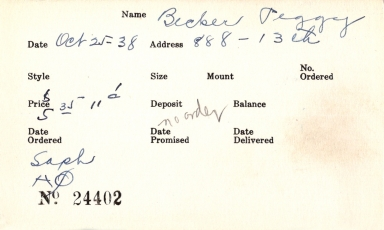 Index card for Peggy Becker