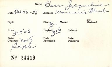 Index card for Jacqueline Barr